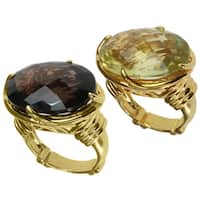 Dallas Prince Gold over Silver Lemon or Smoky Quartz Ring