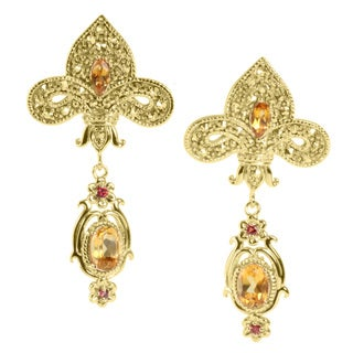 Dallas Prince Goldtone Citrine, Orange Sapphire and Marcasite Earrings