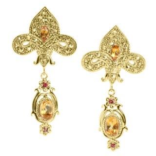 Dallas Prince Goldtone Citrine, Orange Sapphire and Marcasite Earrings