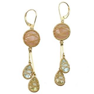 Michael Valitutti Gold/ Silver Moonstone, Blue Topaz and Quartz Earrings