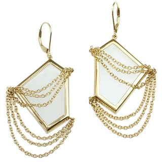 Michael Valitutti Gold over Silver Rock Crystal Earrings