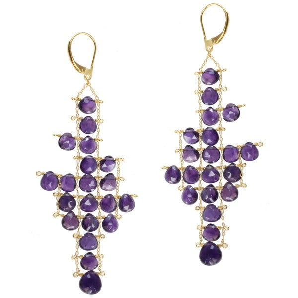 Michael Valitutti Gold over Silver Amethyst Earrings