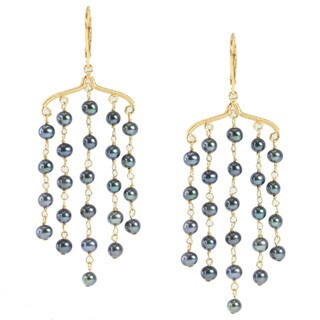 Michael Valitutti Gold over Silver Freshwater Pearl Earrings (4-5 mm)