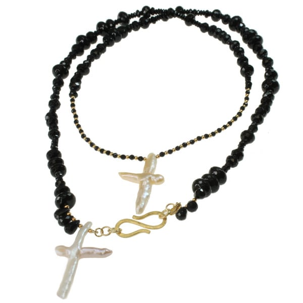Michael Valitutti Gold over Silver Pearl Cross and Black Agate Necklace