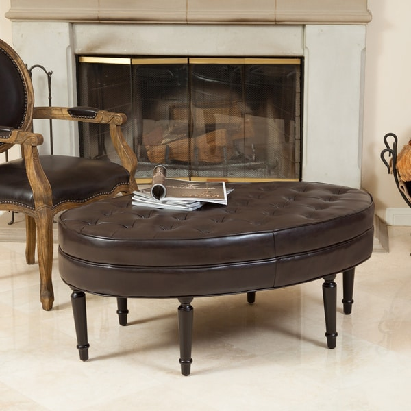 Fielding Brown Bonded Leather Oval Ottoman by Christopher Knight Home