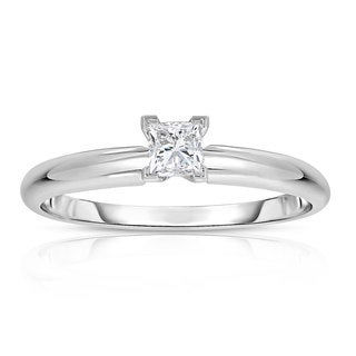 Montebello 14k White Gold 1/4ct Princess Solitaire Diamond Ring