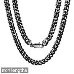 Black Rhodium Plated Brass 5.5mm Cuban Link Chain ( 22-30 inch)