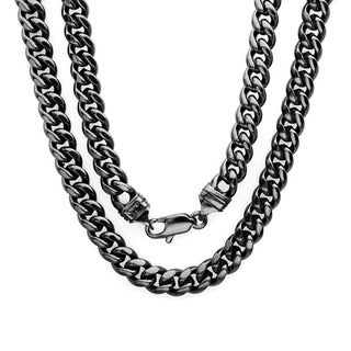 Sterling Essentials Bronze with Black Rhodium-plating 6.5mm Cuban Link Chain ( 22-30 inch)