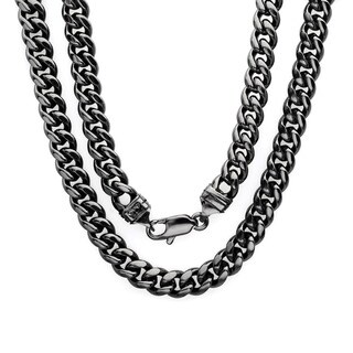 Black Rhodium Plated Brass 6.5mm Cuban Link Chain ( 22-30 inch) (2 options available)