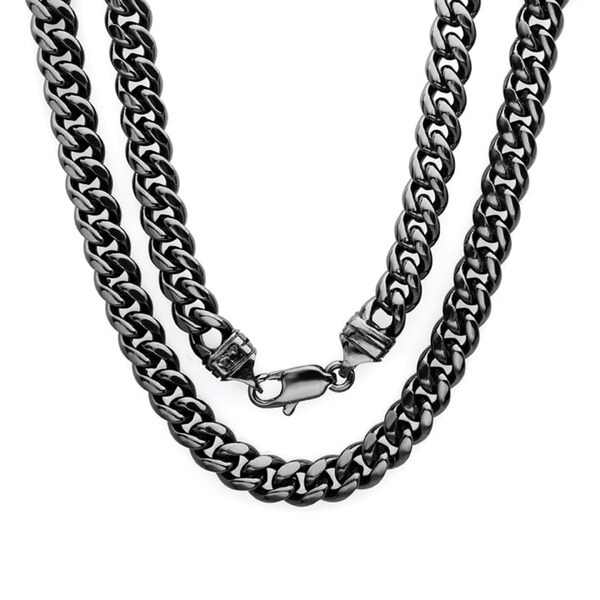 Black Rhodium Plated Brass 6.5mm Cuban Link Chain ( 22-30 inch)