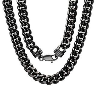 Sterling Essentials Bronze with Black Rhodium-plating 9mm Cuban Link Chain ( 22-30 inch)