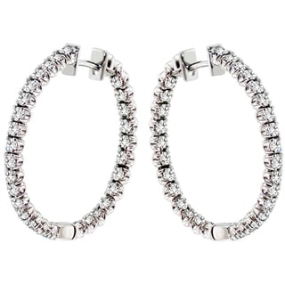 14k White Gold 3ct TDW White Diamond Hoop Earrings (G-H, SI1-SI2)