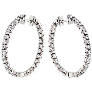 14k White Gold 3ct TDW White Diamond Hoop Earrings