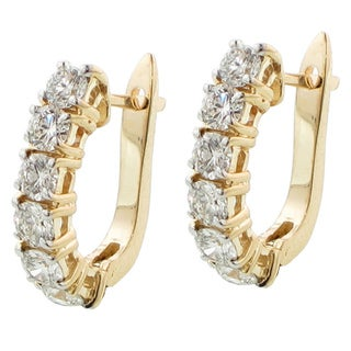14k Yellow Gold 2 2/5ct TDW Diamond Leverback Earrings (G-H, SI1-SI2)