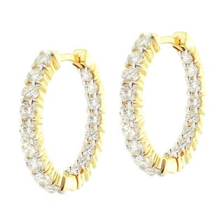 14k Yellow Gold 2 1/4ct TDW Diamond Hoop Earrings (G-H, SI1-SI2)