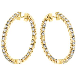 14k Yellow Gold 3ct TDW Diamond Hoop Earrings (G-H, SI1-SI2)
