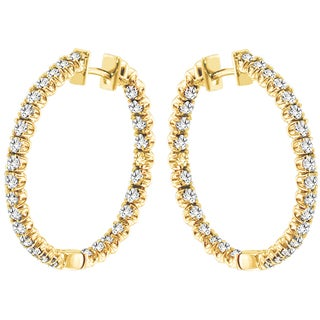 14k Yellow Gold 3ct TDW Diamond Hoop Earrings