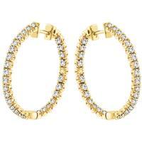 14k Yellow Gold 3ct TDW Diamond Hoop Earrings