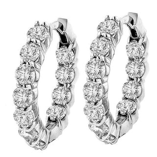 14k White Gold 4 1/ 2ct TDW Diamond Inside-out Hoop Earrings (G-H, SI1-SI2)