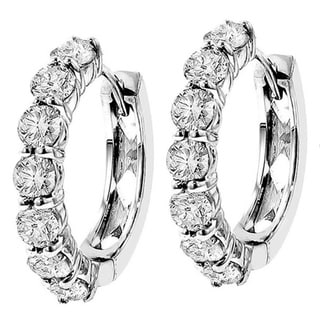 14k White Gold 3ct TDW Diamond Hoop Earrings (G-H, SI1-SI2)