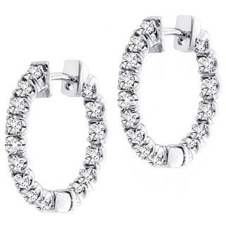 14k White Gold 3ct TDW Diamond Inside-out Hoop Earrings