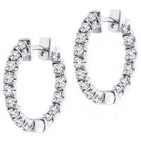 14k White Gold 3ct TDW Diamond Inside-out Hoop Earrings