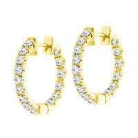 14k Yellow Gold 3ct TDW Diamond Inside-out Hoop Earrings