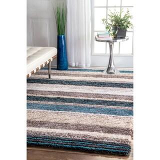 nuLOOM Handmade Striped Plush Shag Rug (5' x 8')