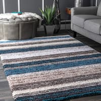 Rug Collective Handmade Striped Plush Shag Rug (9' x 12')