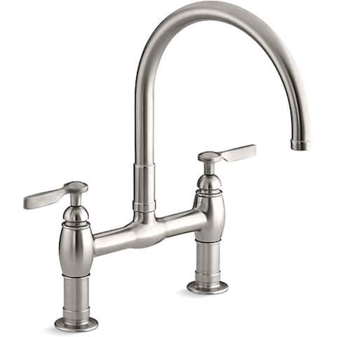 Kohler Stainless Steel Parq Deck Mount Kitchen Bridge Faucet