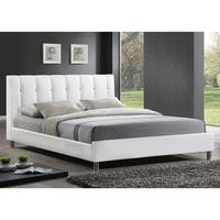 Baxton Studio Vino White Modern Bed with Upholstered Headboard - Full Size