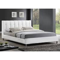 Baxton Studio Vino White Modern Bed with Upholstered Headboard - Full Size
