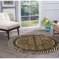 Alise Rugs Flora Contemporary Animal Round Area Rug - 5'3 x 5'3
