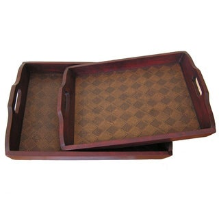Georgetown Solid Decorative Cedar Wood Serving Tray (Set of 2)