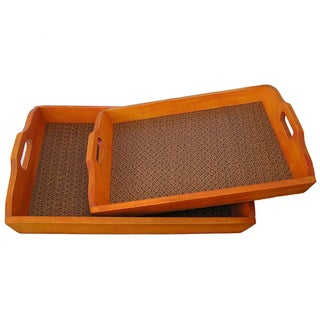 Tuscany Solid Decorative Cedar Wood Serving Trays (Set of 2)