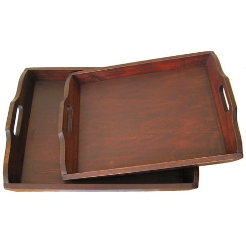 Gold Rush Solid Decorative Cedar Wood Serving Trays (Set of 2)