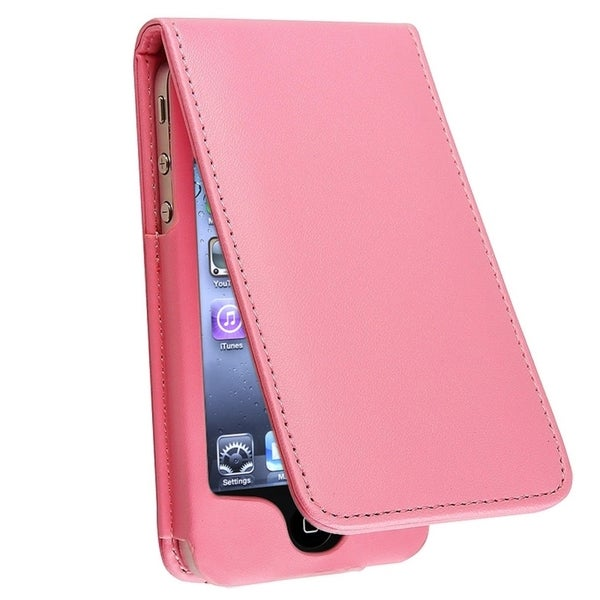INSTEN Pink Leather Phone Case Cover/ Screen Protector for Apple iPhone 4/ 4S