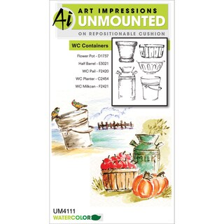 Art Impressions Watercolor Cling Rubber Stamp-Containers