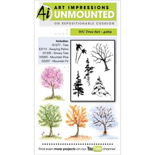 Art Impressions Watercolor Cling Rubber Stamp-Tree Set