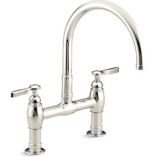 Kohler Parq Polished Nickel Deck Mount Kitchen Bridge Faucet
