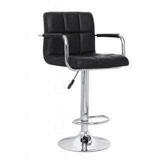 Black Leatherette Swivel-adjustable Retro Bar Stool