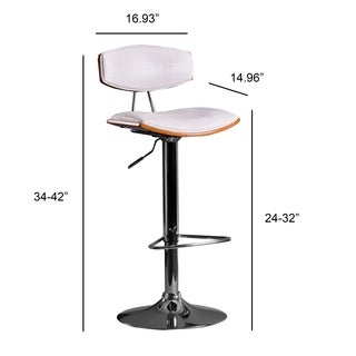 White Swivel-adjustable Contemporary White Barstool