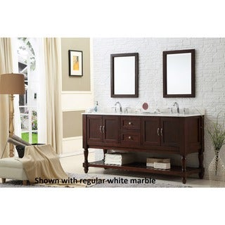 Direct Vanity Sink 70-inch Dark Brown Mission Double Vanity Cabinet