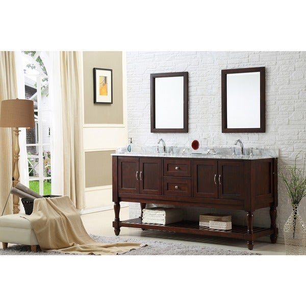 Direct Vanity Sink 70-inch Dark Brown Mission Double Vanity Cabinet