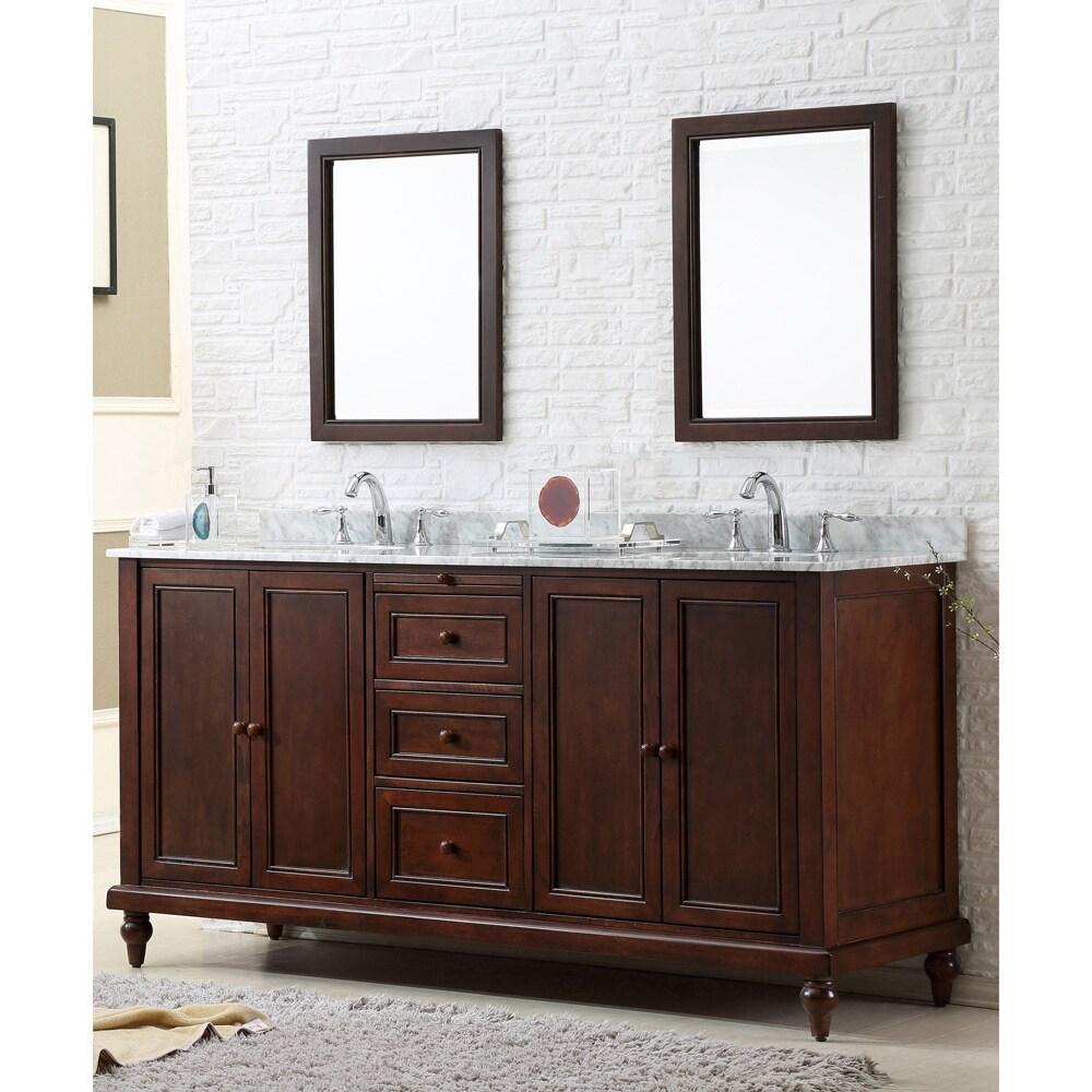 watch 0adfd e443c Direct. Vanity Sink 70-inch Classic Dark Brown Double Vanity Cabinet