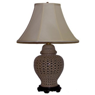 Crown Lighting 1-light Taupe Openwork Lace Table Lamp