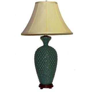 Crown Lighting 1-light Blue Mottled Hobnail Table Lamp