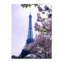 Kathy Yates 'Eiffel Tower with Blossoms' Canvas Art - Multi