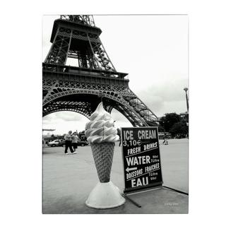 Kathy Yates 'Eiffel Tower with Ice Cream Cone' Canvas Art