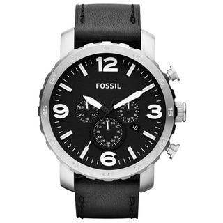 Fossil Men's 'Nate' Chronograph Black Leather Strap Watch